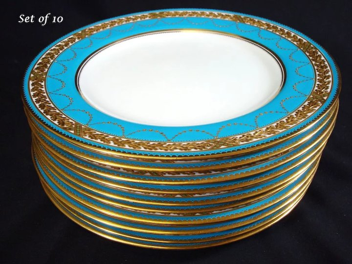 Spode Turquoise Dinner Plates Raised Gilt and Jeweled Retailed by Davis Collamore Set 10 & Spode Turquoise Dinner Plates Raised Gilt and Jeweled Retailed by ...