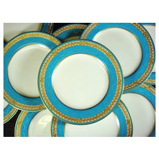 Spode Turquoise Dinner Plates, Raised Gilt and Jeweled, Retailed by Davis Collamore Set 10