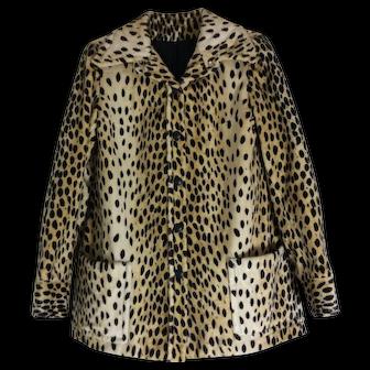 Vintage Faux Fur Leopard or Cheetah Print Jacket Bergdorf Goodman