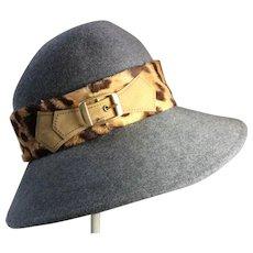 Vintage 1970's Adolfo ll Ladies Gray Felt Hat With Faux Leopard Trim