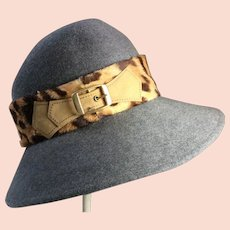 Vintage 1970's Adolfo ll Ladies Gray Felt Hat With Faux Leopard Trim