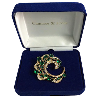 Camrose and Kross Jacqueline Kennedy Simulated Emerald and Swarovski Crystal Brooch