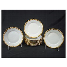 White and Gilt Bread and Butter Plates set 10
