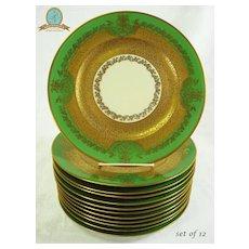 Set 12 Vintage Limoges Decorated Gilt and Green Dinner/ Service Plates