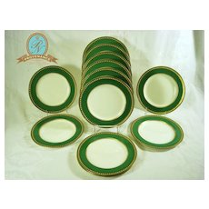 Green and Gilt Derby Plates with Raised Enamel Jewels