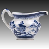 1830 Blue and White Canton Porcelain Snout Nosed Creamer