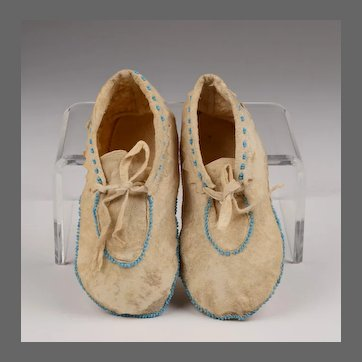 Pair of Partially Beaded Toddler's Shoshone Indian Moccasins