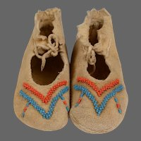 Pr. of Arapaho Toddler's Partially Beaded Moccasins