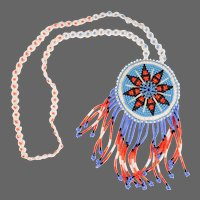 Native American Seed Bead Necklace With Fringed Pendant