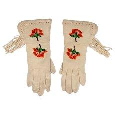 Pr. of Shoshone Buckskin Fringed Gauntlet Gloves
