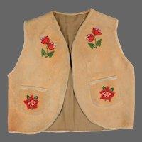 Shoshone Young Mans Beaded Buckskin Vest