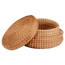 Papago Hand Woven Basket With Cover and Handles