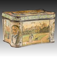 19th C. English Biscuit Tin With Historical Scenes