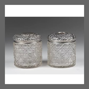 English Cut Glass Vanity Jars With Sterling Repousse Tops