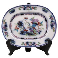 19th C. Flow Blue Staffordshire Polychrome Platter