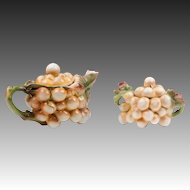 Royal Bayreuth Tettau Porcelain Grape Cluster Teapot And Sugar Bowl