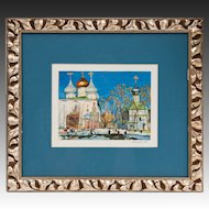 Mid 20th C. Russian Watercolor; Framed And Matted
