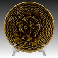 Basket Weave Grape Leaf Pattern Sarreguemines Majolica Plate