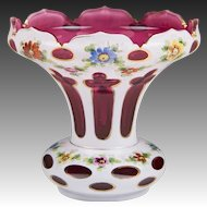 Bohemian Cut Opaline Overlay To Cranberry Glass Vase