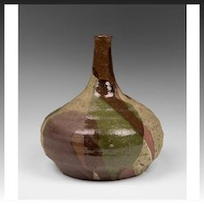 Japanese Terracotta Drip Glaze Bulb Vase