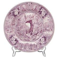 Purple Staffordshire Transfer Ware Souvenir Plate For Natural Bridge Of Virginia