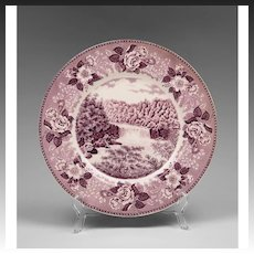 Purple Staffordshire Transfer Ware Souvenir Plate For Cumberland Falls State Park Kentucky