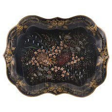 Chippendale Style Victorian Hand Painted Tole Tray