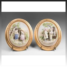 Pair of Vintage Porcelain Bisque Framed Plaque Of Jack and Jill