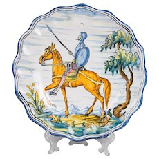 Portuguese Majolica Hand Painted Wall Plate Of Don Quixote