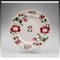 English 19th C. Staffordshire Stick Spatter Adams Rose Plate