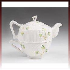 Belleek Harp Shamrock Individual Teapot & Cup