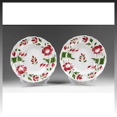 Pair of Early 19th C. William Adams, Adams Rose Stick Spatter Plates