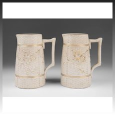 Pair of Matching English Salt Glaze Pitchers
