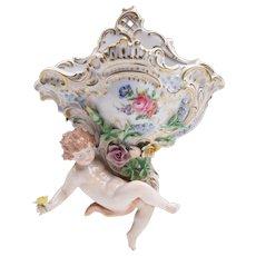 Carl Thieme Dresden Porcelain Wall Pocket With Putti
