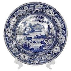 English John Meir Blue & White Transferware Plate