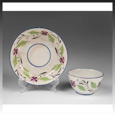 Late 18th C. Staffordshire Cream Ware Tea Bowl & Stand