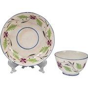 Late 18th C. Staffordshire Cream Ware Tea Bowl & Stand