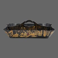 19th C. Japanned Papier Mache Cutlery Carrier