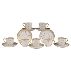 Set of Seven Matched French Limoges Demitasse Cups & Saucers
