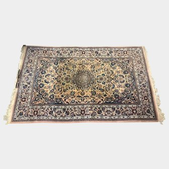 Vintage Signed Isphahan 100% Hand-Knotted Wool Rug