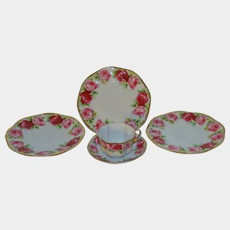 Vintage Mabendorf German Porcelain Plates & Cup & Saucer