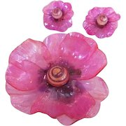 Lucite Hot Pink Flower Brooch and Earrings Set