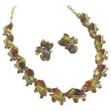 Florenza Necklace and Earrings Green and Amber Colored Leaf Art Glass and Rhinestone Set