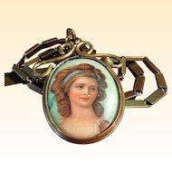 Victorian Hand-Painted Porcelain Portrait Pendant/Necklace on Chain
