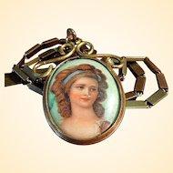 Victorian Hand-Painted Porcelain Portrait Pendant/Necklace
