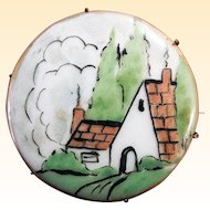 Hand-Painted Porcelain Country Cottage Scene Brooch Pin