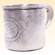 Antique Sterling Silver Child's Cup From Grandparents Hallmarked and Dated Christmas Dec. 25, 1919