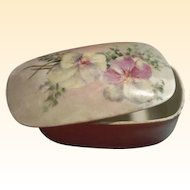 Victorian T & V Limoges Hand-Painted Porcelain Match Box with Match Striker