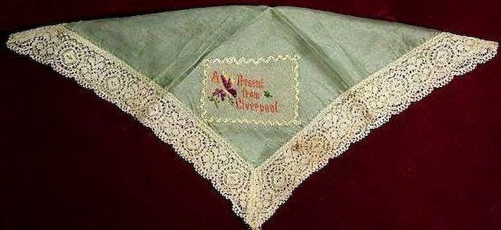 Silk World War I Embroidered Handkerchief