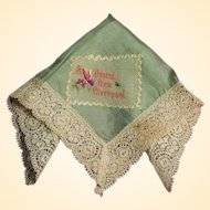 "Silk World War I Embroidered Handkerchief   ""A PRESENT FROM LIVERPOOL"""